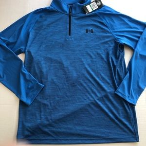 NEW 1/4 Zip Pull Over LOGO Heatgear BLUE Loose Fit